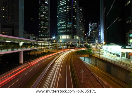 Busy traffic in downtown of Hong Kong - stock photo