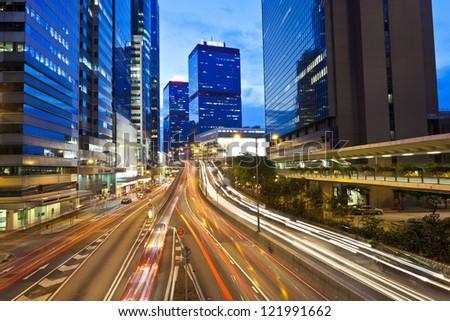 Busy traffic in Hong Kong at night - stock photo