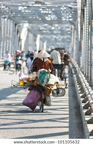 Busy traffic on a bridge, hanoi, Vietnam. - stock photo