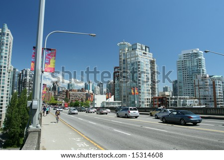 Busy Urban Bridge in Vancouver - stock photo