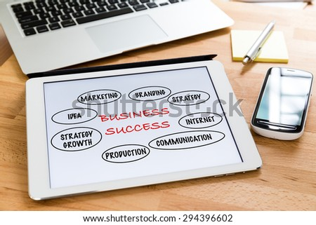 Busy working desk with tablet showing the information of marketing success concept - stock photo