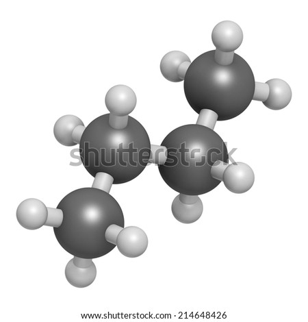Butane hydrocarbon molecule. Commonly used as fuel gas, alone or combined with propane (LPG, liquified petroleum gas). Atoms are represented as spheres with conventional color coding. - stock photo