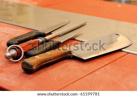 butcher knife - stock photo