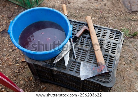 Butcher tools and dirty water bucket for traditional home slaughtering - stock photo
