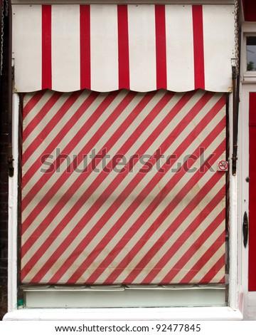 Butchers shop front window - stock photo
