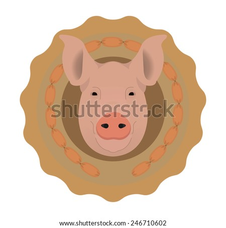 Butchery organic food raster logo. Big pink pig head in tasty wieners circle. Color illustration isolated on  white. No outline - stock photo