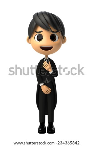 Butler reluctantly to know - stock photo