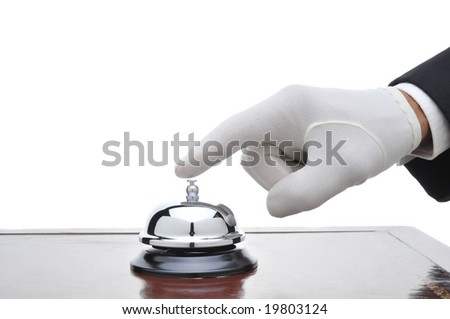 Butler ringing a service bell isolated over white - stock photo