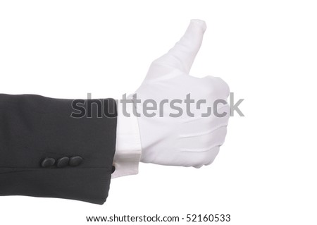 Butler's gloved hand making thumbs up gesture isolated over white. Hand and arm only in horizontal format. - stock photo