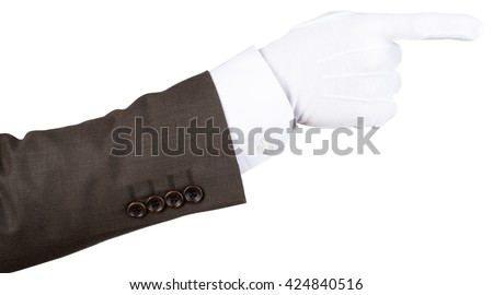 Butler's gloved hand pointing isolated over white background - stock photo