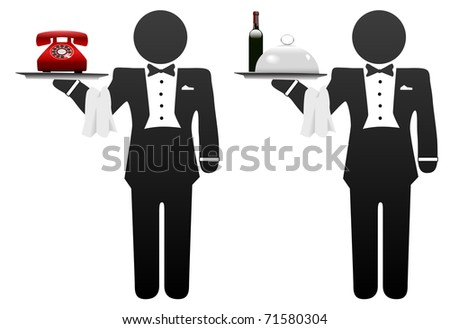 Butler, servant or room service waiter delivers food or phone on tray - stock photo