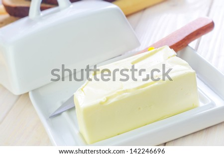 butter and bread - stock photo