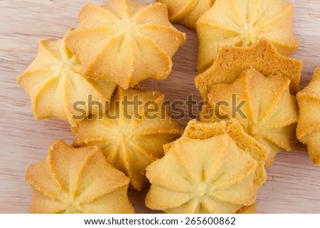 Butter cookies , breakfast - stock photo