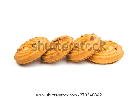 butter cookies isolated on a white background - stock photo