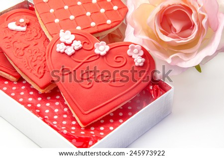 Butter Cookies with heart shaped fondant decorated - stock photo
