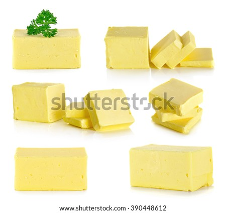 butter isolated on the white background . - stock photo