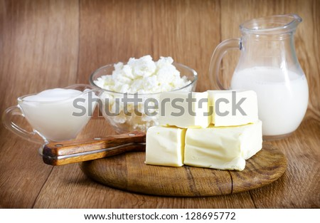 butter,milk and cottage - stock photo
