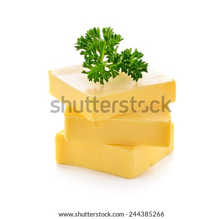 butter on white background - stock photo