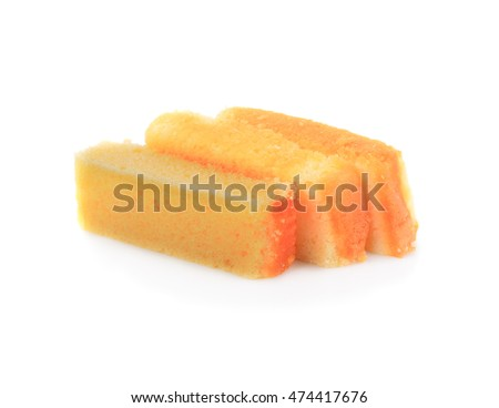 Butter pieces on a white background.