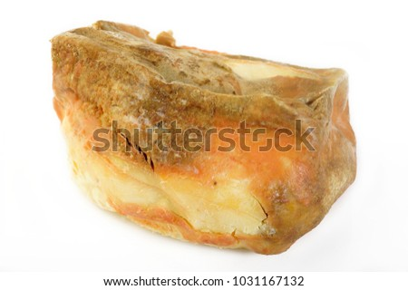 butter rotten on white background