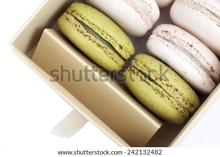 Buttercream Macaron on white background