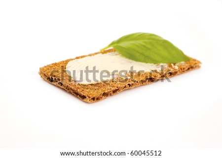 buttered crispbread isolated on white background