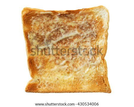 Buttered Slice toast bread isolated on a white background - stock photo