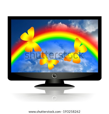 Butterflies and rainbow in blue sky on computer monitor or tv screen - stock photo