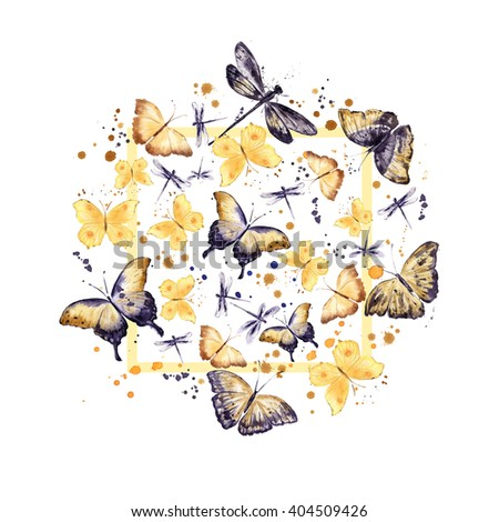 Butterflies. Round pattern. Watercolor background. Yellow and dark purple illustration in vintage style - stock photo