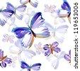 butterflies watercolor  pattern. - stock photo