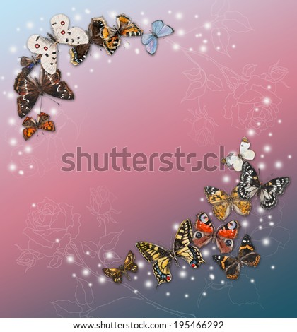 Butterflies with free space for your text in the middle, hand drawing, watercolor illustration. Russian butterflies. Place for your text