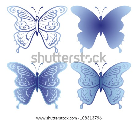 Butterflies with open wings, set, blue monochrome and silhouette, isolated on white background. - stock photo