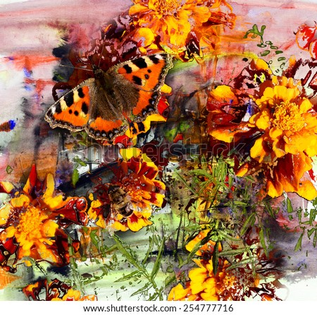 Butterfly and acrylic painting on paper, mixed media background
