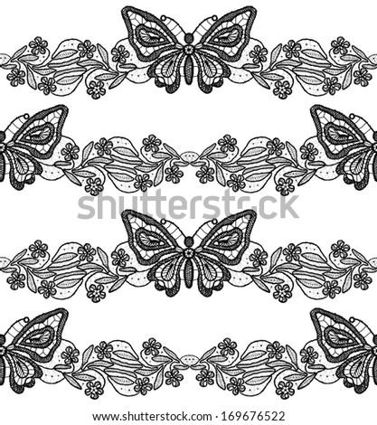 Butterfly and floral black lace seamless pattern on white background - stock photo