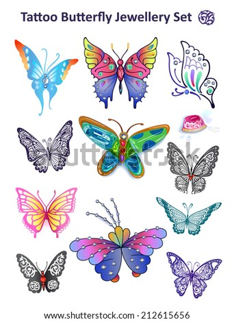 Butterfly colored gem rhinestones isolated on white background illustration