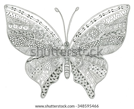 Butterfly coloring page - stock photo
