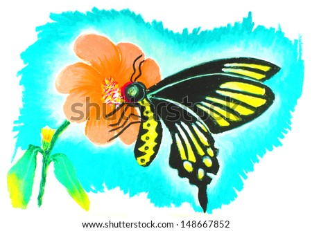 butterfly drawing - stock photo