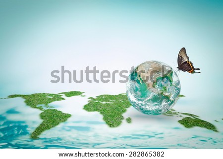 Butterfly drinking water on eco bio green globe with world map sea ocean background: Save world environment water efficiency concept to combat desertification :Elements of this image furnished by NASA - stock photo