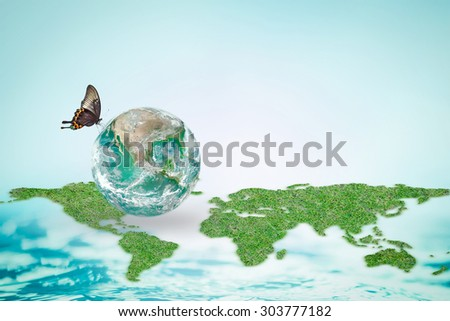 Butterfly drinking water on green globe with world map and ocean background : Save world environment and hydrography concept to combat desertification :Elements of this image furnished by NASA - stock photo