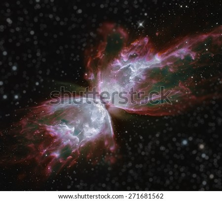 Butterfly Emerges from Stellar Demise in Planetary Nebula NGC 6302. Elements of this image furnished by NASA. - stock photo