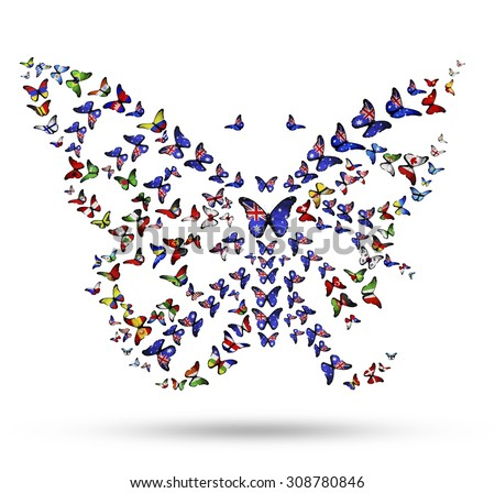 Butterfly from flying flag-butterflies as symbol of Australia identity in the world - stock photo