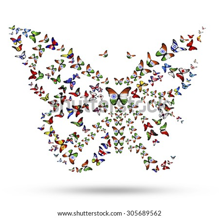 Butterfly from flying flag-butterflies as symbol of India identity in the world - stock photo