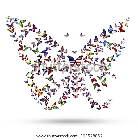 Butterfly from flying flag-butterflies as symbol of USA identity in the world - stock photo
