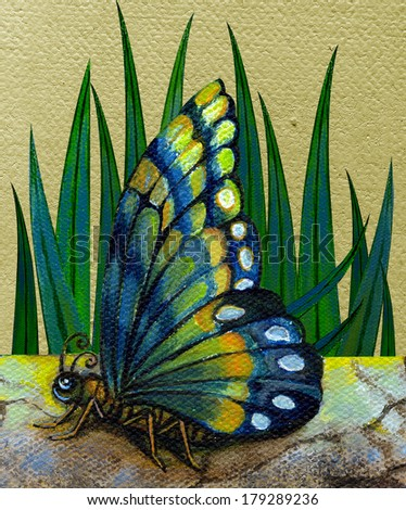 Butterfly.Hand acrylic color painting on canvas. - stock photo