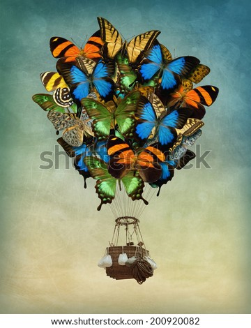 Butterfly hot air balloon high in the sky - stock photo