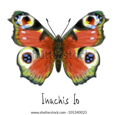 Butterfly Inachis Io. Watercolor imitation.  Raster version.