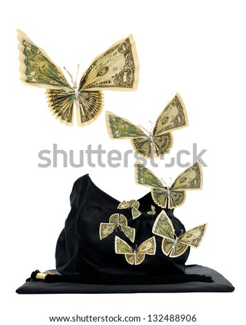 Butterfly money in black graduation cap concept - stock photo