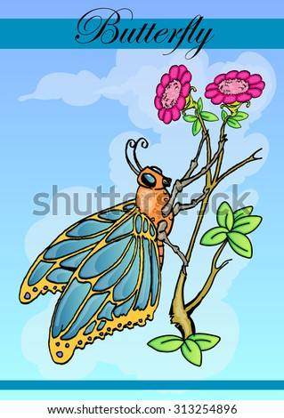 butterfly on branch of flower hand draw illustration  - stock photo