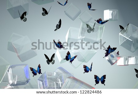 butterfly on the background color of crystalline cubes - stock photo