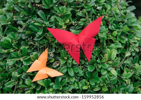 butterfly Origami with nature - stock photo